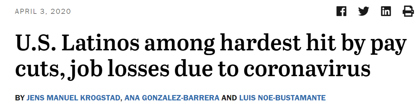 Headline - US Latinos among hardest hit by pay cuts, job losses due to coronavirus